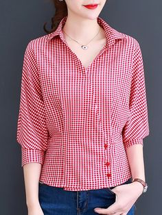 V Neck Plaid Buttons Three-quarter Sleeve Blouse Wholesale Clothing Online Store. We Offer Top Good Quality Cheap Clothes For Women And Men Clothing Wholesaler, Get Affordable Clothing At Worldwide. Frock Fashion, Fashion Outfits, Fashion Blouses, Blouse Styles, Blouse Designs, Baby Girl Dress Patterns, Quarter Sleeve, Shirt Blouses, Clothes For Women