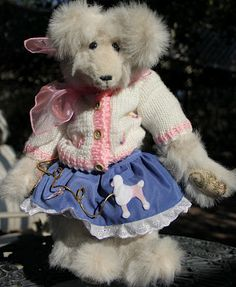 """1950's Poodle Skirt Bear--Mary Beth wearing a Blue Jeans poodle skirt and hand-knit sweater, stands 15"""" tall."""