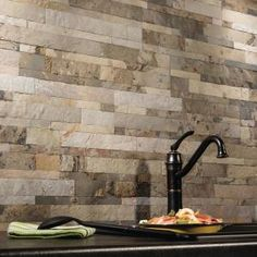 L And Stick Stone Decorative Tile Backsplash In Medley Slate