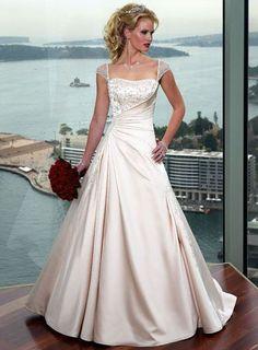 Amazing A line Corset Back Cap Sleeve Satin Wedding Dresses