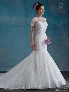 Short Sleeves Wedding Dresses 2017 Mary's Bridal with Sheer Neck And Semi-Cathedral Train Beading Lace Tulle Mermaid Style Vestido De Noiva Wedding Dress 2017 Vestido De Noiva Robe De Mariage Online with $241.15/Piece on Grace2's Store | DHgate.com