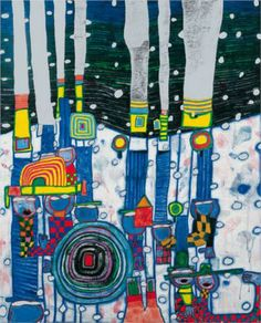 Blue Blues, 1994 -   Friedensreich Hundertwasser. Friedensreich Hundertwasser (1928 – 2000) was an Austrian architect and painter.