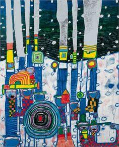 Blue Blues, 1994 -   Friedensreich Hundertwasser. Friedensreich Hundertwasser (1928 – 2000) was an Austrian architect and painter.