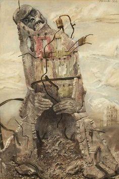 """Bronisław Linke """"Egzekucja w ruinach getta"""" z cyklu """"Kamienie krzyczą"""", 1946, gwasz, akwarela"""