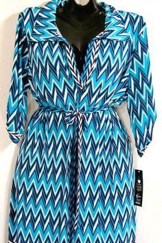 3X 22W~Blue Chevron Striped Print Work DRESS~Zig Zag~Retro~Rockabilly
