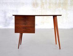 Mid Century Danish Modern Walnut Desk Vanity Table Vintage Retro 1960s Mad Men   eBay