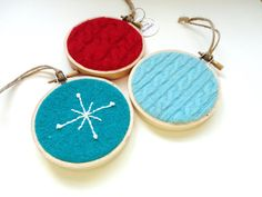 Red & Aqua Christmas Felted Sweater Wool Hoop Christmas Ornaments / Retro Turquoise Christmas Hoop by WormeWoole