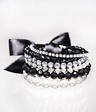 PEARL AND RHINESTONE STRETCH BRACELET SET