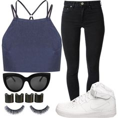 A fashion look from August 2015 featuring Topshop tops, Acne Studios jeans and NIKE sneakers. Browse and shop related looks.
