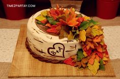 Time2Partay.blogspot.com: A Fall Themed Bridal Shower #autumn #fall #bridal #bridalshower #shower #theme #party #wedding #orange #gold #red #brown #leaves #sweets #plants #favors #photobooth #activities #desserts #desserttable #elegant #cake #sukkarcakes