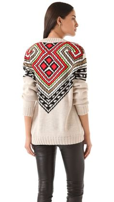 LOVE this look!  great sweater with leather. Mara Hoffman  Intarsia Pullover