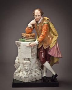 Large English Pearlware Figure of Shakespeare, Staffordshire Circa 1825 Modeler Peter Vannier