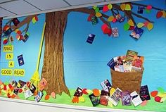 Rake in a Good Read    This is a lovely bright, eye-catching display. It's all made out of paper (the brown is all recycled, the rake made of rolled up paper, and the book covers are color copies). Reading Bulletin Boards, Fall Bulletin Boards, Bulletin Board Display, Classroom Bulletin Boards, Display Boards, School Displays, Classroom Displays, Fall Displays, Class Displays