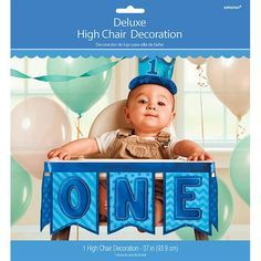 Blue 1st Birthday Deluxe High Chair Decoration