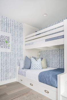 built-in bunk beds and herringbone wallpaper From an indoor basketball court and bowling alley to a game room and massive walk-in closet, this stunning San Diego, CA, home designed by Tracy Lynn Studio has it all. Take a look inside here. Bunk Bed Rooms, Bunk Beds Built In, White Bunk Beds, Boy Room, Kids Room, Girls Bedroom, Bedroom Decor, Bedding Decor, Dorm Bedding
