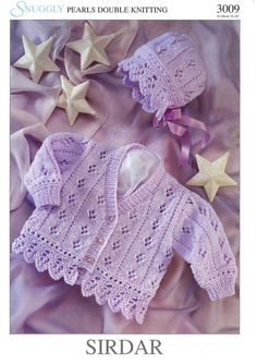 Strickmuster vintage knitting pattern PDF baby cardigan and bonnet double knitting to Baby Knitting Patterns, Baby Cardigan Knitting Pattern, Knitting For Kids, Double Knitting, Baby Patterns, Free Knitting, Crochet Patterns, Knitting Yarn, Serger Patterns