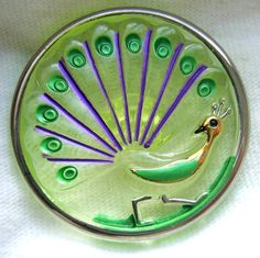 Czech Vaseline Glass Button - LG Enameled Peacock Picture Button w/ Silver Rim