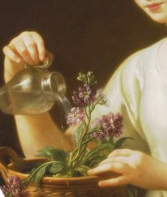 Young woman watering a pot of flowers, Detail (1763) by Joseph Marie Vien (French painter, 1716 - 1809)
