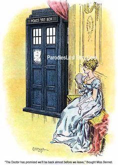 Jane AUSTEN Doctor Who TARDIS Print Pride & Prejudice Elizabeth BENNET Parody via Etsy.