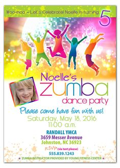 Zumba Birthday Party Invitation for Kids https://www.etsy.com/listing/150138020/zumba-party-invitation-zumba-dance-party?
