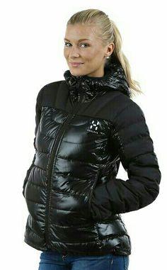 sexy blond puffy coat