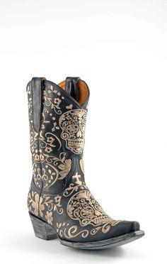 Womens Old Gringo Klak Cowboy Boots Black & Bone #L1300-4  For the badass cowgirl boot wearer!
