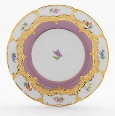 "Teller, Form ""B-Form"", Gestreute Blümchen, bunt, pink glasiert, Goldbronze, leicht, ø 19 cm"