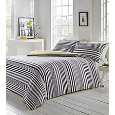 Home Collection - Grey striped 'Addison' duvet cover and pillow case