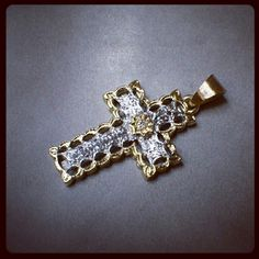 Pierced, embossed & engraved 18kt white and yellow gold, cross pendant with diamond handmade by Paolo Brunicardi goldsmith in Tuscany, Italy.