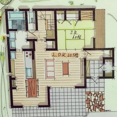 Overview/間取り図/間取り1Fのインテリア実例 - 2016-03-02 13:33:47 | RoomClip (ルームクリップ) Small Studio, New Homes, Floor Plans, How To Plan, Architecture, House, Design, Drawing, Arquitetura