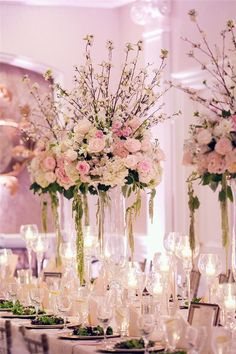 20 Glam Tall Floral Wedding Centerpieces | http://www.deerpearlflowers.com/20-glam-tall-floral-wedding-centerpieces/