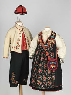 Ensemble  Date: 1890–1905 Culture: Norwegian Medium: wool    Scandinavian clothing bears striking similarities amongst the countries with very few distinctions. This girl's ensemble, pictures here with a complete boy's ensemble is distinctive to Norway for its darker color palette than neighboring Sweden and Denmark.
