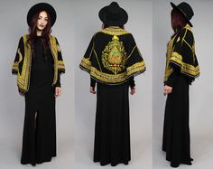 Vtg Antique Black Embroidered Novelty Ethnic Cape by theindustry