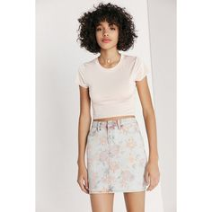 BDG Floral Print Denim Mini Skirt ($30) ❤ liked on Polyvore featuring skirts, mini skirts, high-waisted skirts, bodycon skirt, short skirts, high waisted mini skirt and high-waist skirt