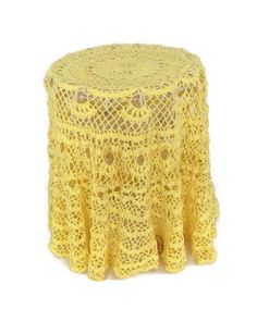 Handmade lace tablecloth or large doily. Vintage crochet in bright yellow cotton thread Round with ruffled hem when used as a tablecloth 50