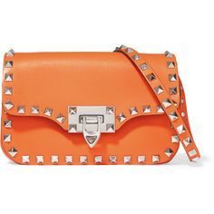 Valentino The Rockstud leather shoulder bag, Women's (97.960 RUB) ❤ liked on Polyvore featuring bags, handbags, shoulder bags, leather shoulder bag, evening handbags, leather cross body purse, red crossbody and leather handbags