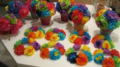 mexican paper flowers centerpieces and candle rings Mexican Fiesta Party, Fiesta Theme Party, Party Themes, Party Ideas, Fiesta Decorations, Party Decoration, Paper Flower Centerpieces, Party Centerpieces, Mexican Centerpiece