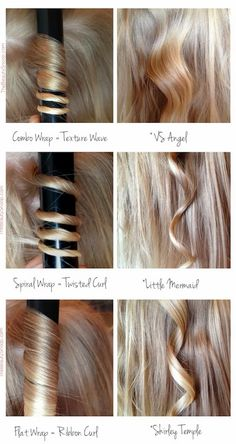 Did you know there are a number of wrapping techniques to achieve a different type of curl? Yeah, me neither! I always just do it the same way. You'll need a curling wand for best results, but this visual certainly helps you achieve your desired results.