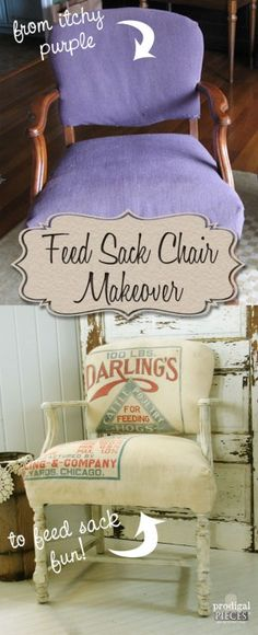 Vintage Chair Gets Feed Sack Makeover by Prodigal Pieces www.prodigalpieces.com #prodigalpieces