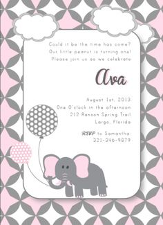 #party trends, girl birthday, elephant, pink, gray, posh, polka dot, invitation, party $1.75