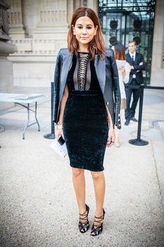 Christine Centenera at Paris Fashion Week in Balmain dress... and that Signature blazer..