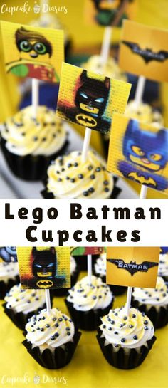 Lego Batman Cupcakes are the perfect dessert for a Lego Batman Movie birthday party! Get the FREE printable toppers to pop right on top of the cupcakes.