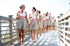 Bridesmaids in Skirts - Love these colors!!!