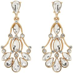 Forever New Valerie Vintage Fan Drop Earrings ($11) ❤ liked on Polyvore featuring jewelry, earrings, brincos, accessories, bijoux, crystal, vintage gold tone jewelry, vintage teardrop earrings, vintage drop earrings and forever new