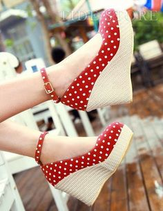 Sweet Autumn Dots Knot Bows Wedges Women Shoes