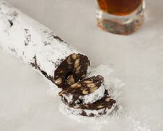 "Chocolate ""Salami"" - Not an actual salami, although it sure looks like one, this is a traditional Croatian dessert made around Christmas time.  By Tamara Novacoviç"