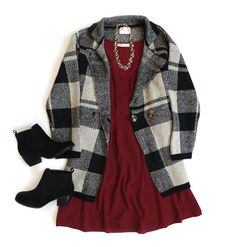 When in doubt, throw a plaid coat over a classic dress. Ankle boots and statement jewelry take any colorful dress into date night!