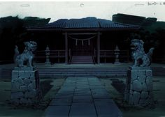 The shrine where Saya lives with Tadayoshi in BLOOD-C is a classic and traditional-looking Shinto shrine.