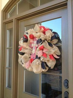 Cross Burlap Wreath with Red, Black, and Natural Burlap