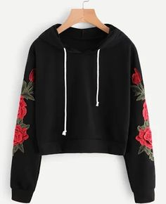 ROMWE Embroidered Rose Applique Sleeve Hoodie 2018 Autumn Long Sleeve Casual Pullovers 2018 Women Black Sweatshirt - All About Teenage Outfits, Teen Fashion Outfits, Outfits For Teens, Trendy Outfits, Cool Outfits, Fashion Fashion, Womens Fashion, Fashion Dresses, Fashion Black